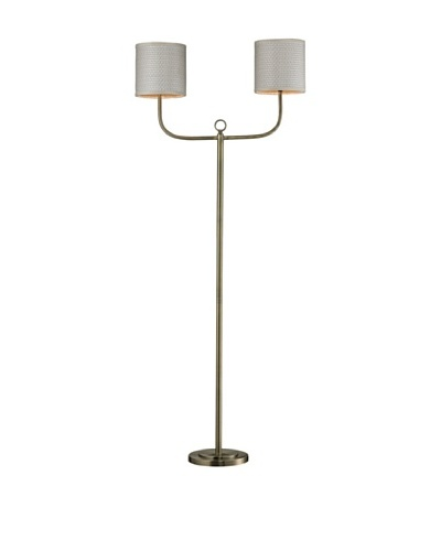 HGTV Home Double Armed Floor Lamp in Antique Brass Finish
