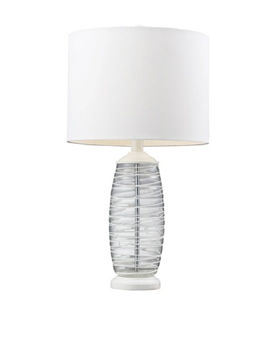 HGTV Home Clear and White Blown Glass Table Lamp