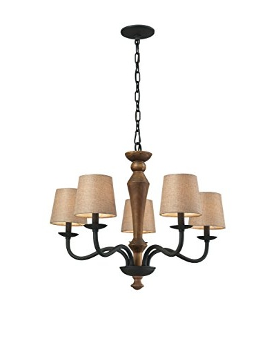 HGTV Home Early American 5-Light Chandelier, Vintage Rust