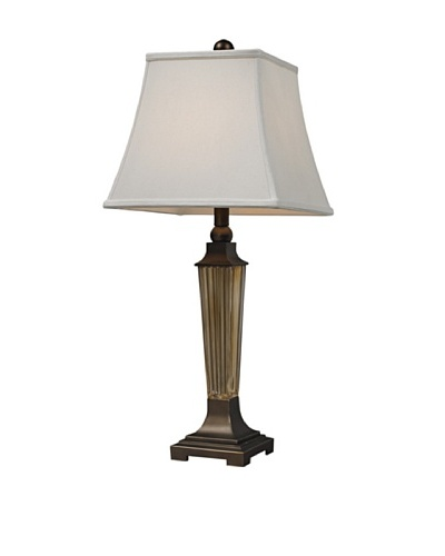 HGTV Home Amber Smoked Glass with Bronze Accents Table Lamp