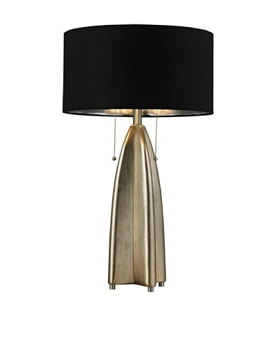 HGTV Home Gold Leaf Table Lamp with Black Shade