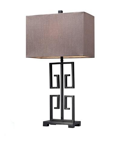 HGTV Home Dark Bronze Greek Key Metal Table Lamp
