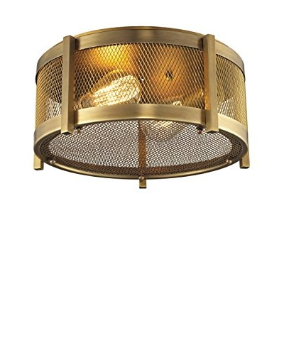 HGTV Home Rialto Collection 2-Light Flush Mount, Aged Brass