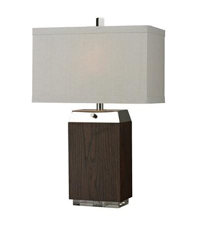 HGTV Home Wood Veneer Table Lamp with Acrylic Base