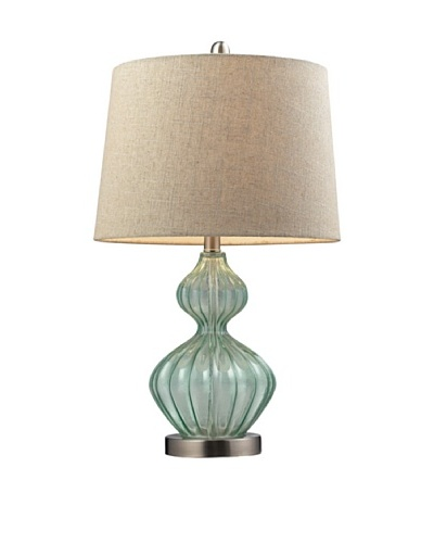 HGTV Home Pale Green Smoked Glass Table Lamp