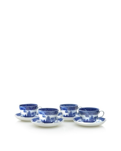 Set of 4 Blue Willow Cup & Saucers