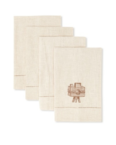 D.L. Rhein Set of 4 Travel Set Guest Towels, Vintage Camera