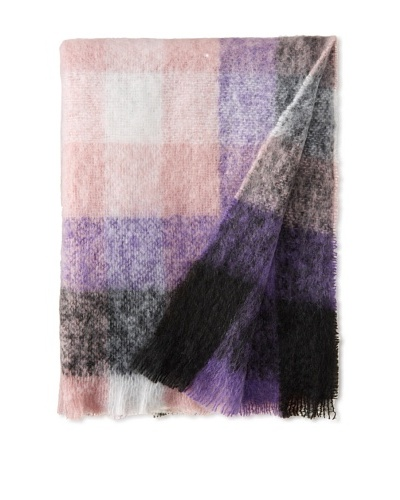 Hinterveld Holiday At Home Purple Blocky Check Throw, Purple Check