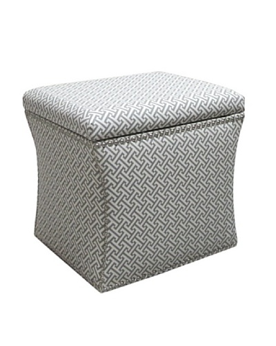 Skyline Pewter Nail Button Storage Ottoman, Charcoal