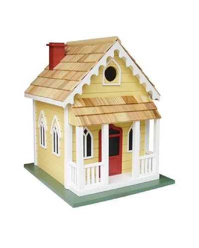Home Bazaar Chatham Cottage Birdhouse, Yellow/Red Door