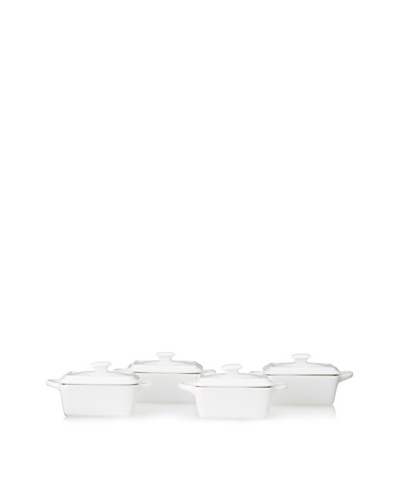 Home Essentials Set of 4 Rectangular Mini Cocottes, White