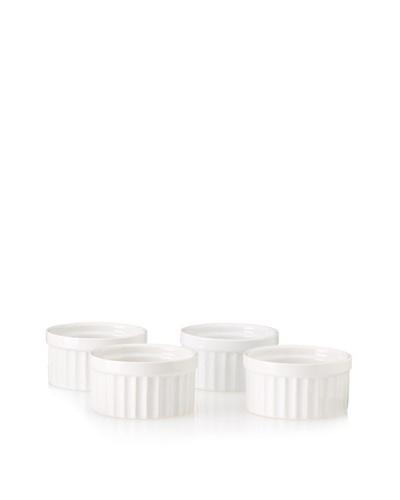 Home Essentials Set of 4 Fruit Apple Ramekins, White, 3.5