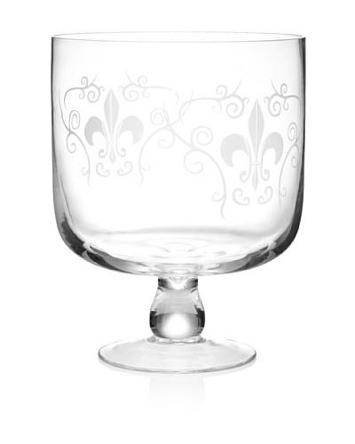 Home Essentials Etched Fleur-de-Lis Trifle Bowl