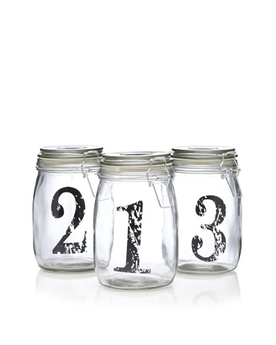 Home Essentials Set of 3 Bail & Trigger Jars with Vintage Print