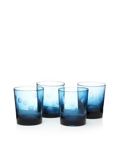 Home Essentials Set of 4 Pulse Dots Double Old-Fashioned Glasses [Blue]