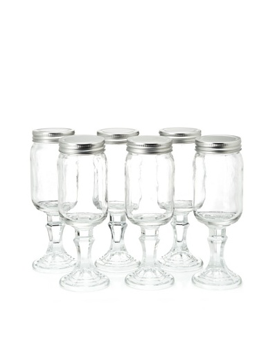 Home Essentials Set of 6 Stemmed Mason Wine Jars, Clear/Silver