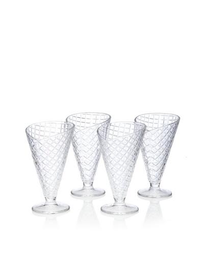 Home Essentials Set of 4 Sweet Vita Ice Cream Cone Glasses, 8.5-Oz.