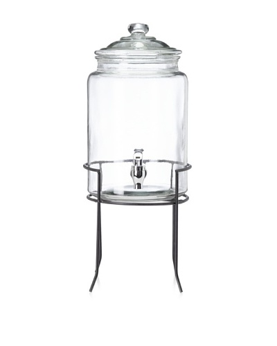Home Essentials Cylinder Drink Dispenser with Iron Stand, 1.5-Gal.