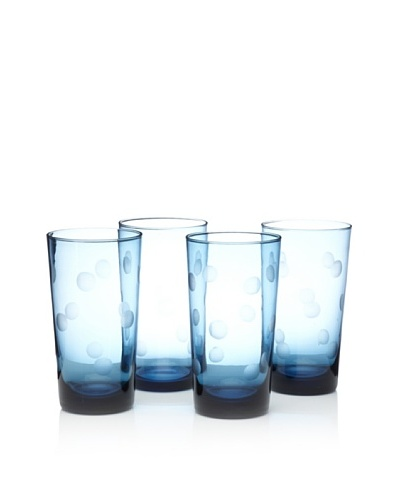 Home Essentials Set of 4 Pulse Dots Highball Glasses [Blue]