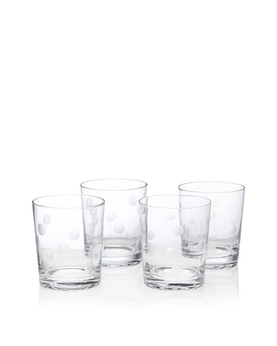 Home Essentials Set of 4 Pulse Dots Double Old-Fashioned Glasses [Clear]