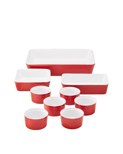 Home Essentials 9-Piece Bakeware Set, Red/White