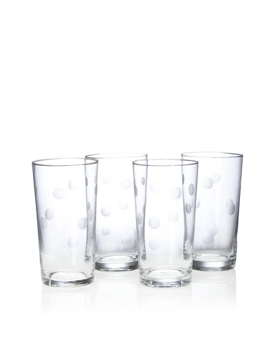 Home Essentials Set of 4 Pulse Dots Highball Glasses [Clear]