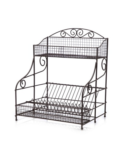Home Essentials Wire Standing Dish Rack, French Grey