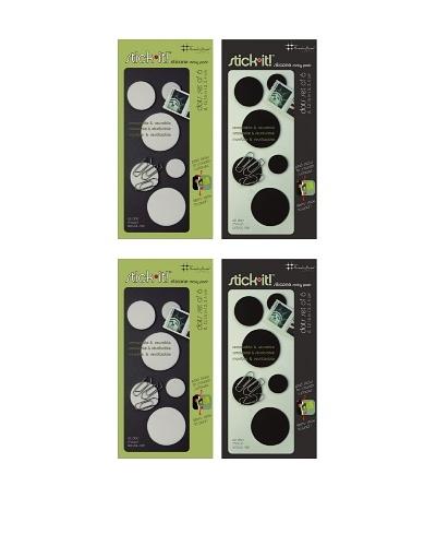 Three by Three Set of 4 Stick It! Dots, Black/White