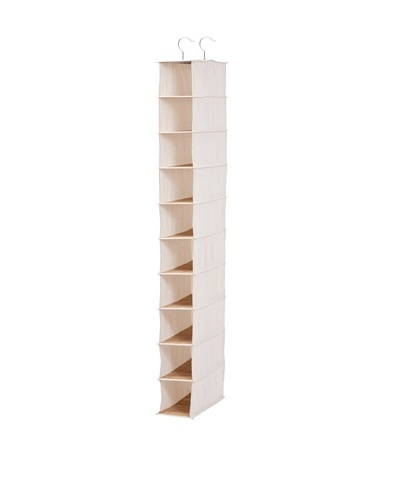 Honey-Can-Do 10-Shelf Hanging Shoe Organizer, Bamboo/Canvas