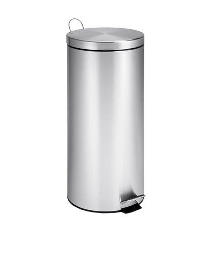 Honey-Can-Do Round Stainless Steel Step Trash Can with Liner, Chrome, 30-Liter/ 8-Gallon