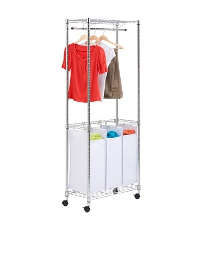 Honey-Can-Do Urban Rolling Laundry Center, Chrome, Triple-Sorter