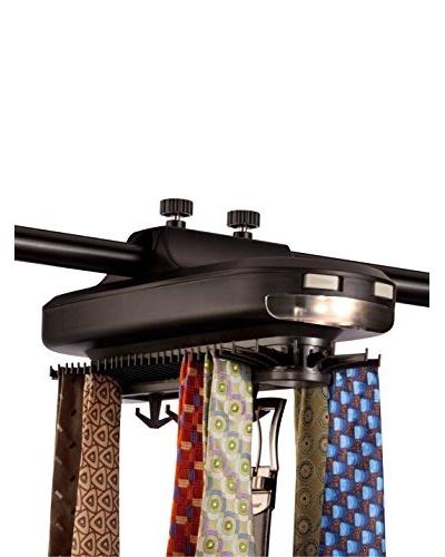 Honey-Can-Do Battery Powered Revolving Tie & Belt Organizer, Black