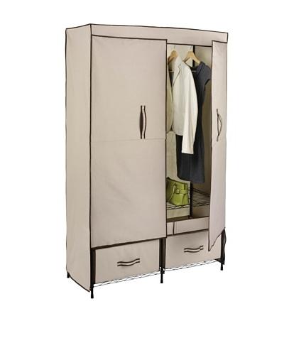 Honey-Can-Do Ultra-Deluxe Wide Storage Closet with Heavy Duty Doors, Cream