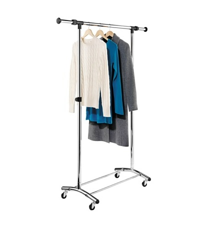 Honey-Can-Do Garment Rack with Adjustable Bar and Steel Casters, Chrome