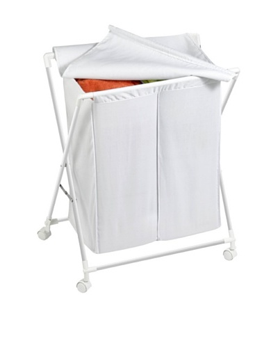 Honey-Can-Do Rolling Laundry Sorter with Removable Bags, White, Single