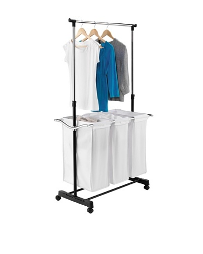Honey-Can-Do Adjustable Height Laundry Center, Chrome/Black/White