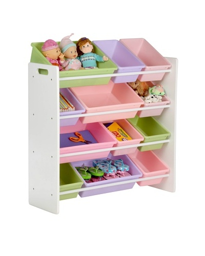 Honey-Can-Do Kids Toy Organizer and Storage Bins [White/Pastel]