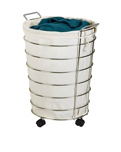 Honey-Can-Do Steel Canvas Rolling Laundry Hamper, Chrome