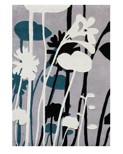Horizon Floral Outline Rug [Ivory/Black/Sea Blue]