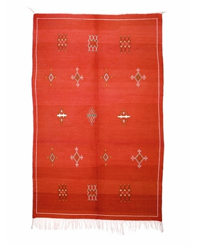 Hotel Marrakeche One of a Kind Hand Knotted Moroccan Rug, Red/Crème, 4' 10 x 8' 2