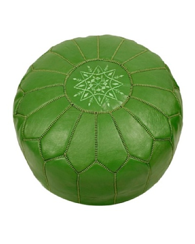 Hotel Marrakeche Moroccan Leather Pouf Ottoman, Green