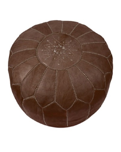 Hotel Marrakeche Moroccan Leather Pouf Ottoman, Brown