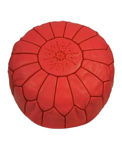 Hotel Marrakeche Moroccan Leather Pouf Ottoman, Red
