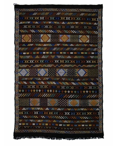 "Hotel Marrakeche One of a Kind Hand Knotted Moroccan Rug, Black/Grey/Blue, 6' 5"" x 9' 9"""