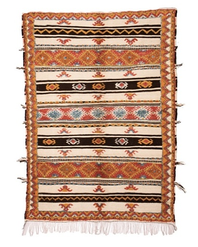 Hotel Marrakeche One of a Kind Hand Knotted Moroccan Rug, Orange/Blue/Red, 5' 5 x 7' 1