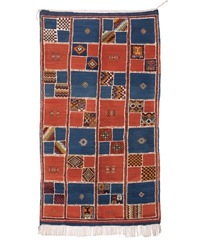 Hotel Marrakeche One of a Kind Hand Knotted Moroccan Rug, Blue/Red, 3' 10 x 7' 5