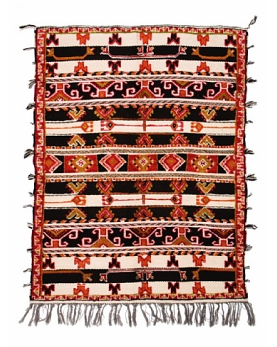 Hotel Marrakeche One of a Kind Hand Knotted Moroccan Rug, Black/Red/Beige, 5' 4 x 7'
