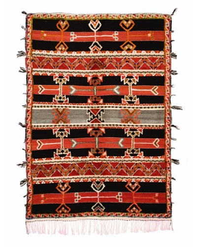 Hotel Marrakeche One of a Kind Hand Knotted Moroccan Rug, Black/Red/Grey, 5' 1 x 7' 1