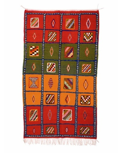 Hotel Marrakeche One of a Kind Hand Knotted Moroccan Rug, Red/Green/Orange, 3' 10 x 6' 10