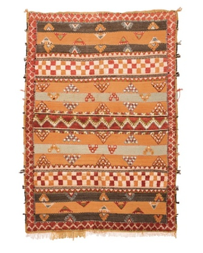 Hotel Marrakeche One of a Kind Hand Knotted Moroccan Rug, Red/Orange/Grey, 5' x 6' 10